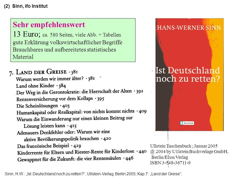 Sinn, H.W.: Ist Deutschland noch zu retten?, Ullstein-Verlag, Berlin 2005; Kap.7: Land der Greise; Ullstein Taschenbuch ; Januar 2005 @ 2004 by U1lste