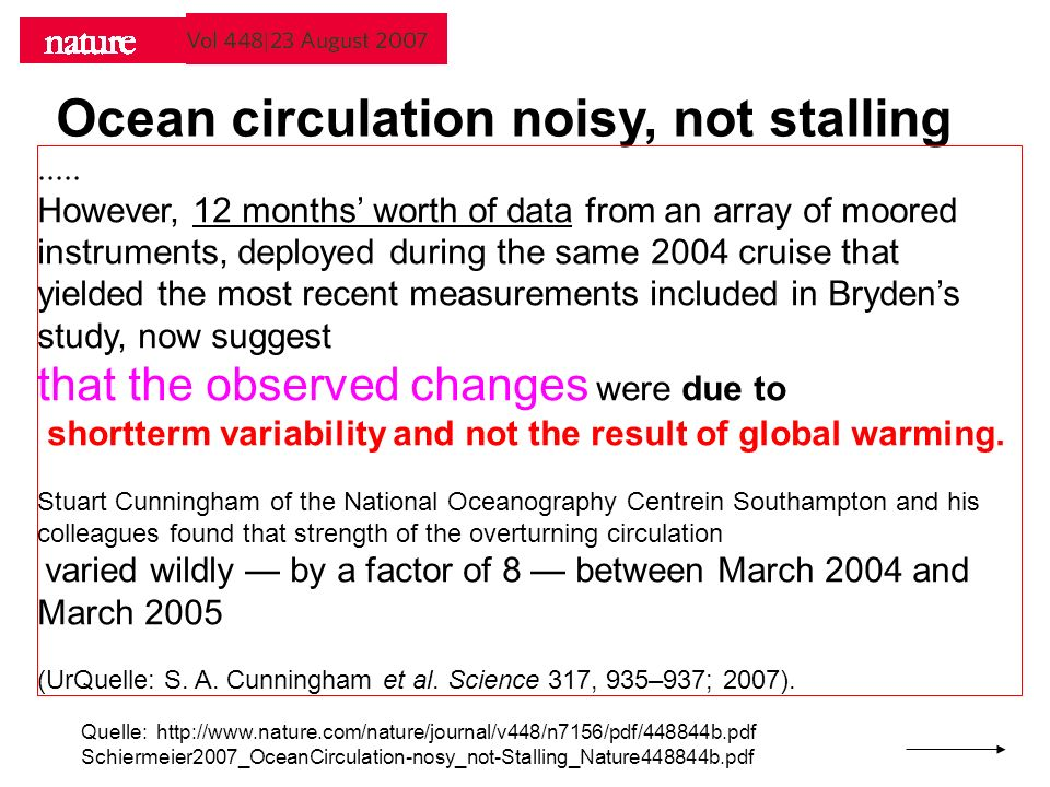 Ocean circulation noisy, not stalling Quelle: http://www.nature.com/nature/journal/v448/n7156/pdf/448844b.pdf Schiermeier2007_OceanCirculation-nosy_not-Stalling_Nature448844b.pdf.....