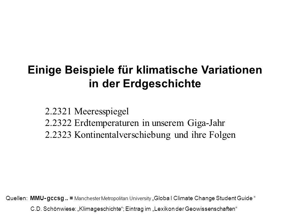Einige Beispiele für klimatische Variationen in der Erdgeschichte Quellen: MMU- gccsg.. = Manchester Metropolitan University Globa l Climate Change St