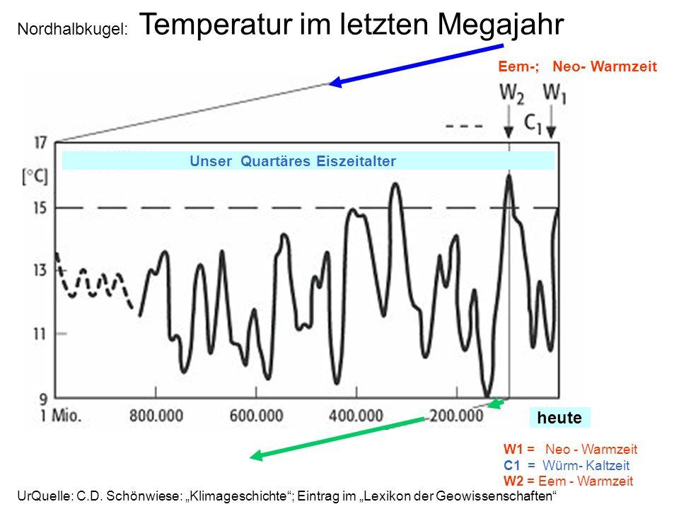 Nordhalbkugel: Temperatur im letzten Megajahr Eem-; Neo- Warmzeit W1 = Neo - Warmzeit C1 = Würm- Kaltzeit W2 = Eem - Warmzeit UrQuelle: C.D. Schönwies