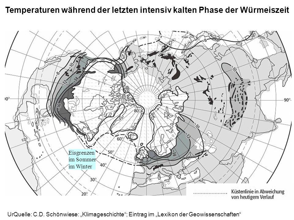 Temperaturen während der letzten intensiv kalten Phase der Würmeiszeit Eisgrenzen im Sommer im Winter
