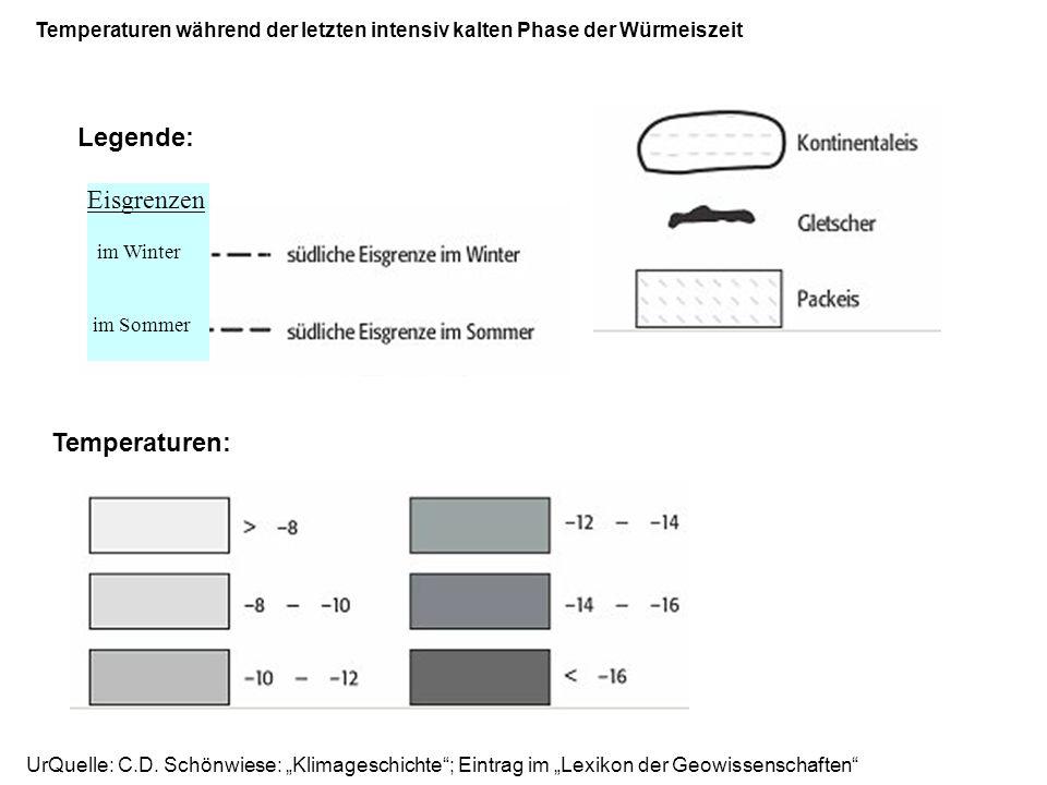 UrQuelle: C.D. Schönwiese: Klimageschichte; Eintrag im Lexikon der Geowissenschaften Temperaturen während der letzten intensiv kalten Phase der Würmei