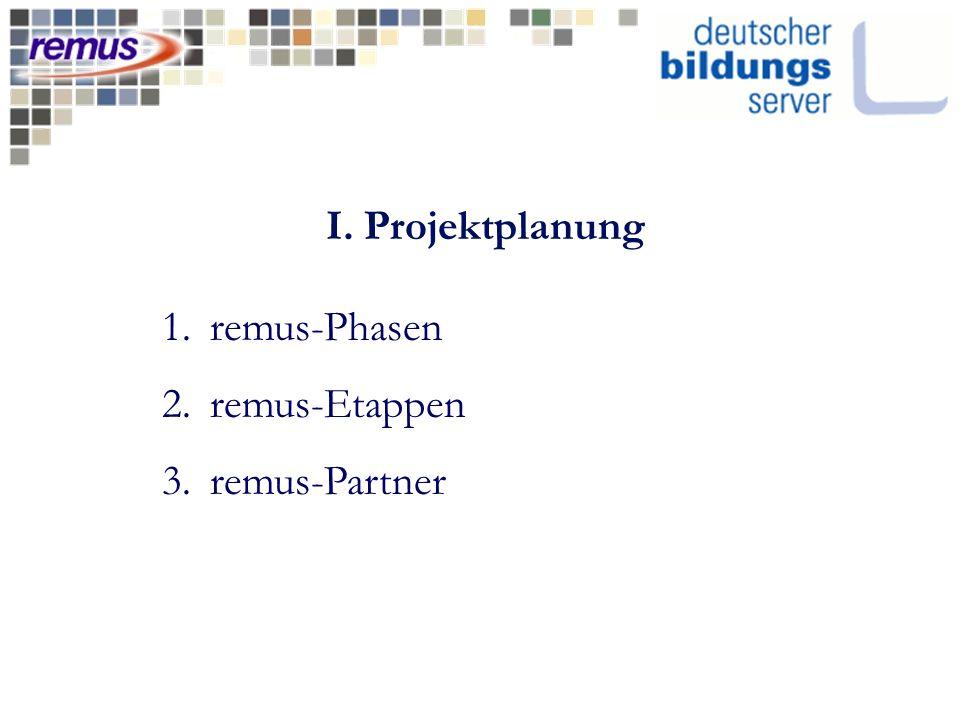 I. Projektplanung 1.remus-Phasen 2.remus-Etappen 3.remus-Partner