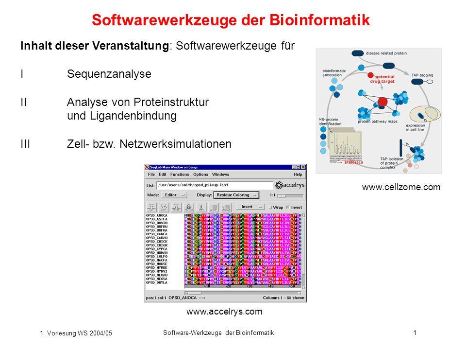 1. Vorlesung WS 2004/05 Software-Werkzeuge der Bioinformatik1 Softwarewerkzeuge der Bioinformatik Inhalt dieser Veranstaltung: Softwarewerkzeuge für I