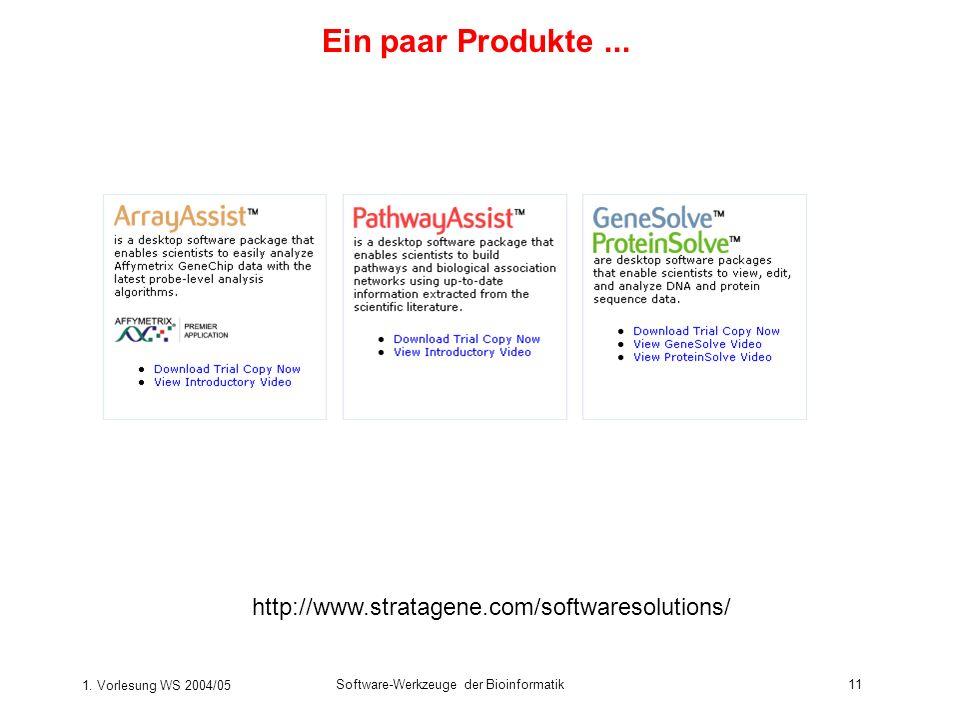 1. Vorlesung WS 2004/05 Software-Werkzeuge der Bioinformatik11 http://www.stratagene.com/softwaresolutions/ Ein paar Produkte...