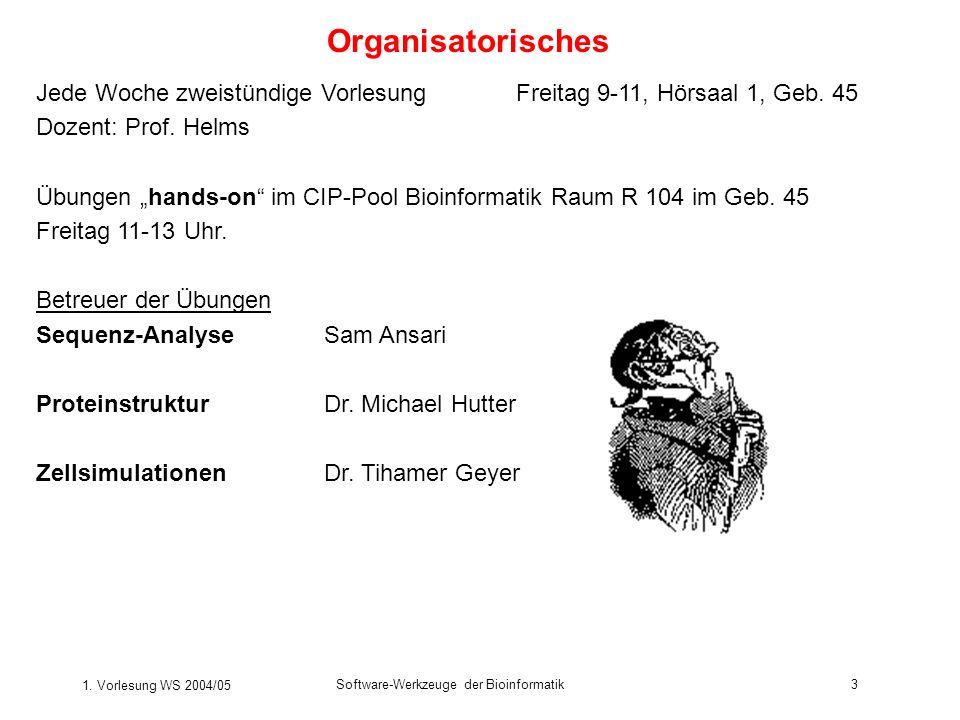 1. Vorlesung WS 2004/05 Software-Werkzeuge der Bioinformatik3 Organisatorisches Jede Woche zweistündige VorlesungFreitag 9-11, Hörsaal 1, Geb. 45 Doze