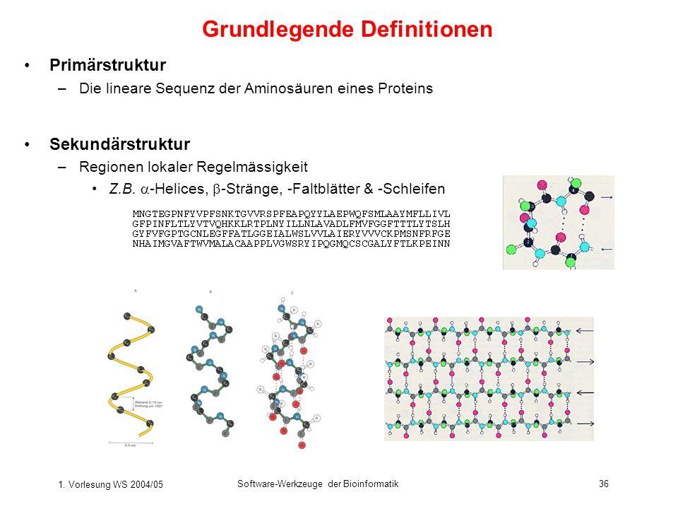 1. Vorlesung WS 2004/05 Software-Werkzeuge der Bioinformatik36 Primärstruktur –Die lineare Sequenz der Aminosäuren eines Proteins Sekundärstruktur –Re
