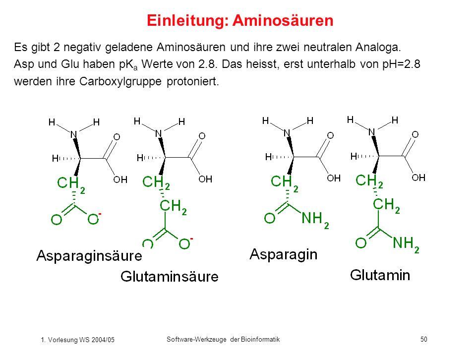 1. Vorlesung WS 2004/05 Software-Werkzeuge der Bioinformatik50 Es gibt 2 negativ geladene Aminosäuren und ihre zwei neutralen Analoga. Asp und Glu hab