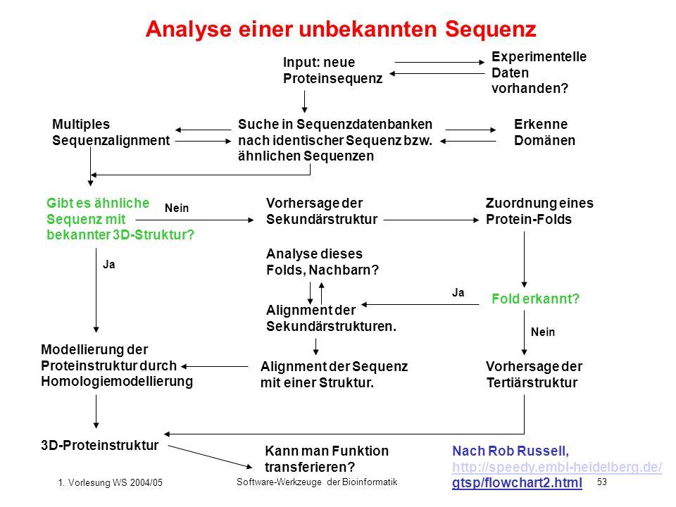 1. Vorlesung WS 2004/05 Software-Werkzeuge der Bioinformatik53 Analyse einer unbekannten Sequenz Suche in Sequenzdatenbanken nach identischer Sequenz