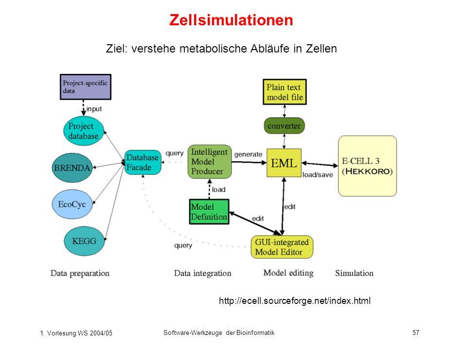 1. Vorlesung WS 2004/05 Software-Werkzeuge der Bioinformatik57 Zellsimulationen http://ecell.sourceforge.net/index.html Ziel: verstehe metabolische Ab