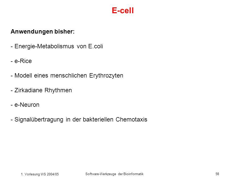 1. Vorlesung WS 2004/05 Software-Werkzeuge der Bioinformatik58 E-cell Anwendungen bisher: - Energie-Metabolismus von E.coli - e-Rice - Modell eines me