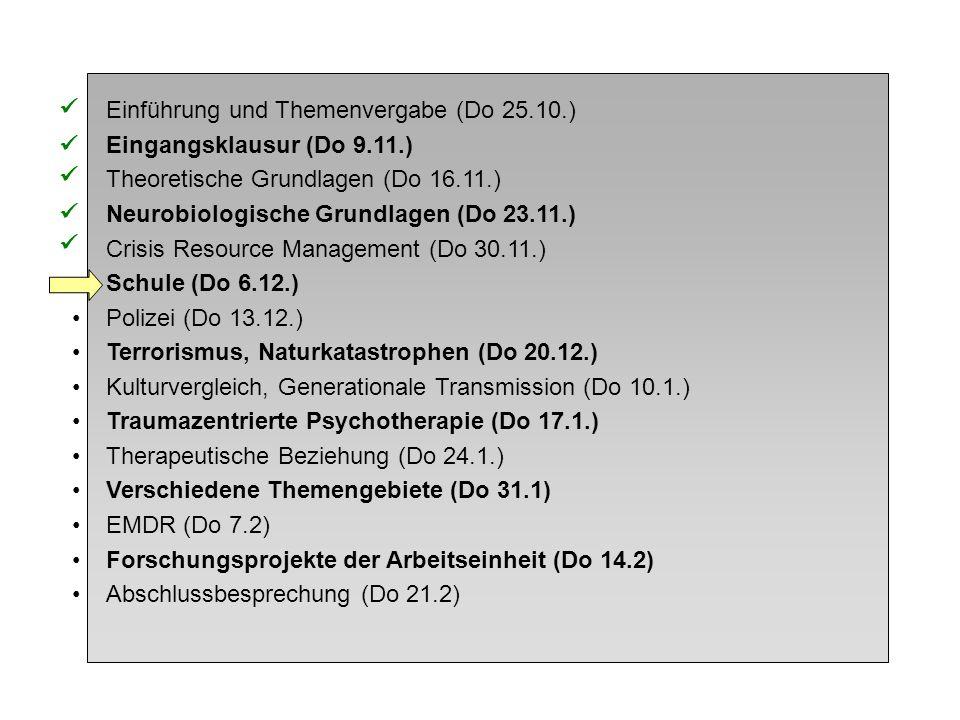 Einführung und Themenvergabe (Do 25.10.) Eingangsklausur (Do 9.11.) Theoretische Grundlagen (Do 16.11.) Neurobiologische Grundlagen (Do 23.11.) Crisis