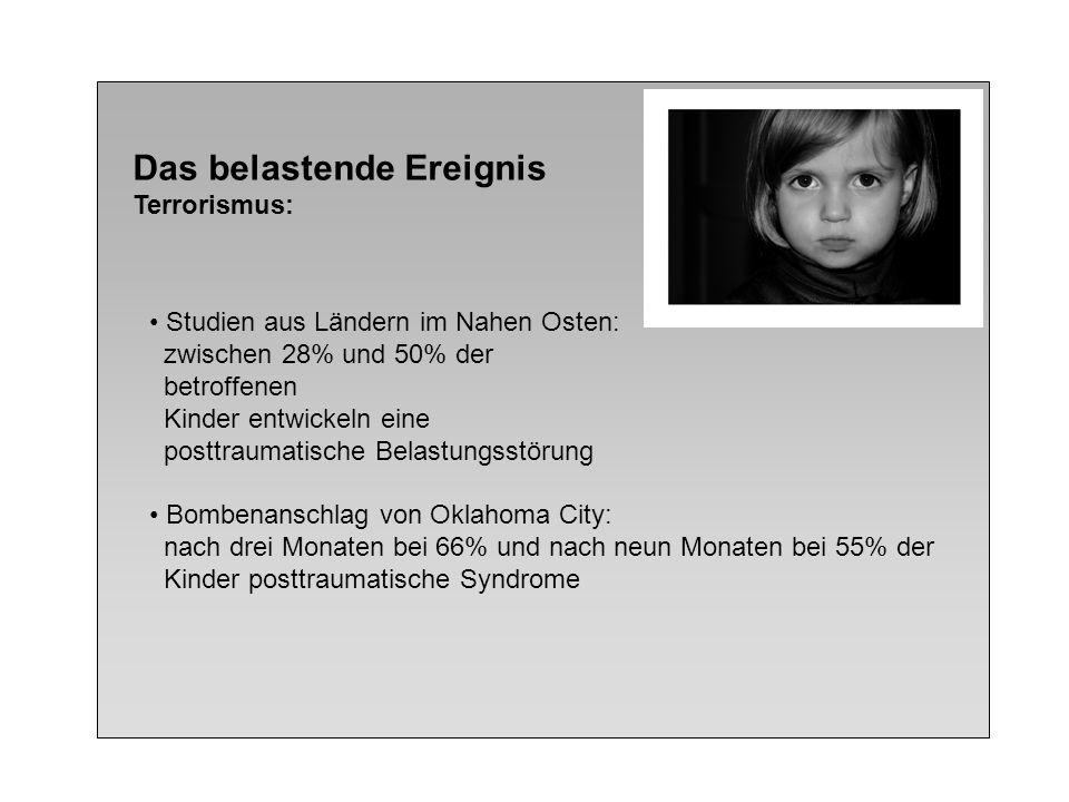 Das belastende Ereignis Terrorismus: Studien aus Ländern im Nahen Osten: zwischen 28% und 50% der betroffenen Kinder entwickeln eine posttraumatische
