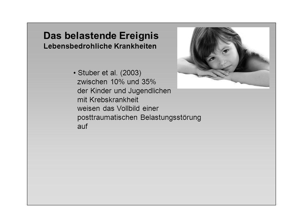 Das belastende Ereignis Lebensbedrohliche Krankheiten Stuber et al. (2003) zwischen 10% und 35% der Kinder und Jugendlichen mit Krebskrankheit weisen
