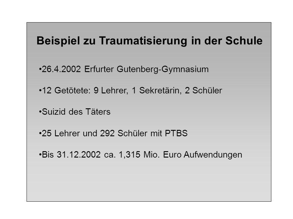 Beispiel zu Traumatisierung in der Schule 26.4.2002 Erfurter Gutenberg-Gymnasium 12 Getötete: 9 Lehrer, 1 Sekretärin, 2 Schüler Suizid des Täters 25 L