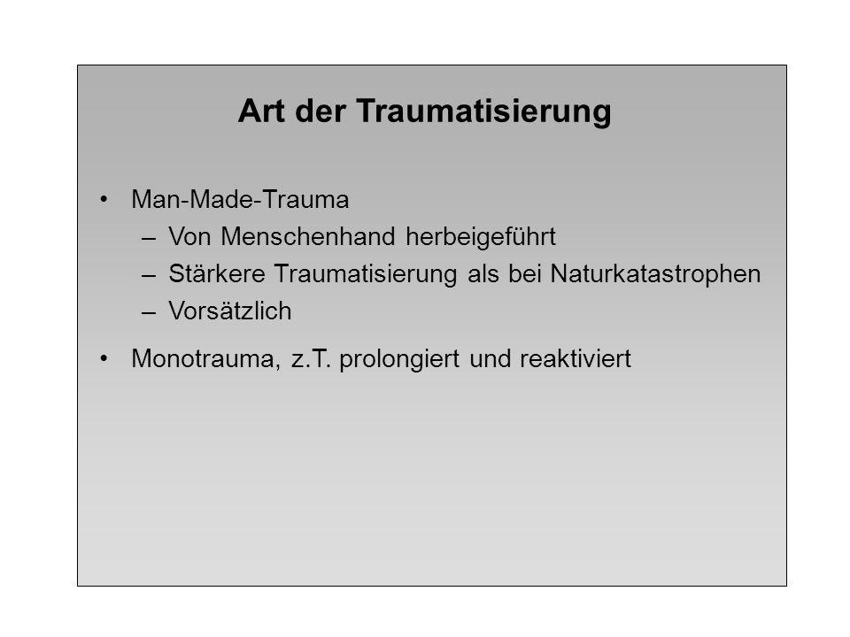 Art der Traumatisierung Man-Made-Trauma –Von Menschenhand herbeigeführt –Stärkere Traumatisierung als bei Naturkatastrophen –Vorsätzlich Monotrauma, z