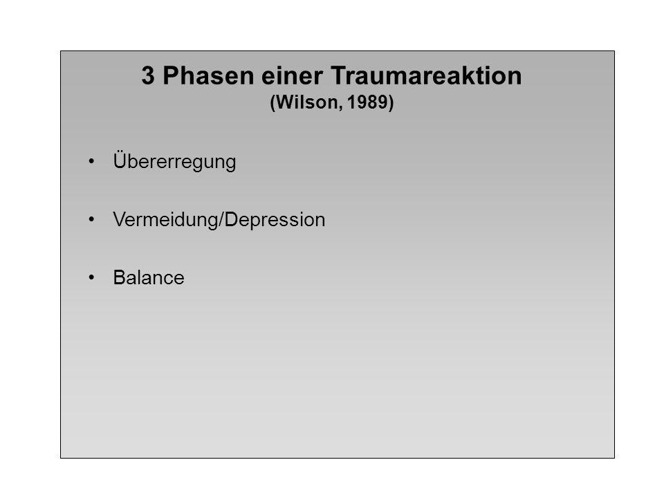 3 Phasen einer Traumareaktion (Wilson, 1989) Übererregung Vermeidung/Depression Balance