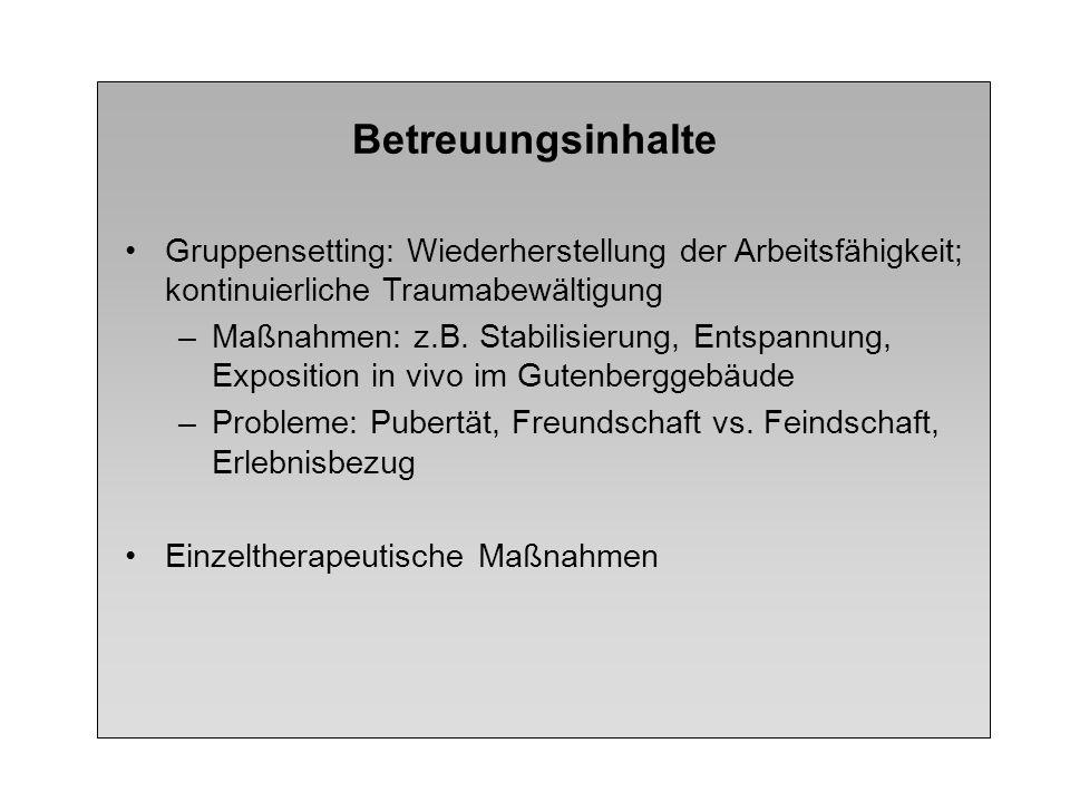 Betreuungsinhalte Gruppensetting: Wiederherstellung der Arbeitsfähigkeit; kontinuierliche Traumabewältigung –Maßnahmen: z.B. Stabilisierung, Entspannu