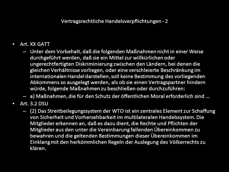 Vertragsrechtliche Handelsverpflichtungen - 3 Art.