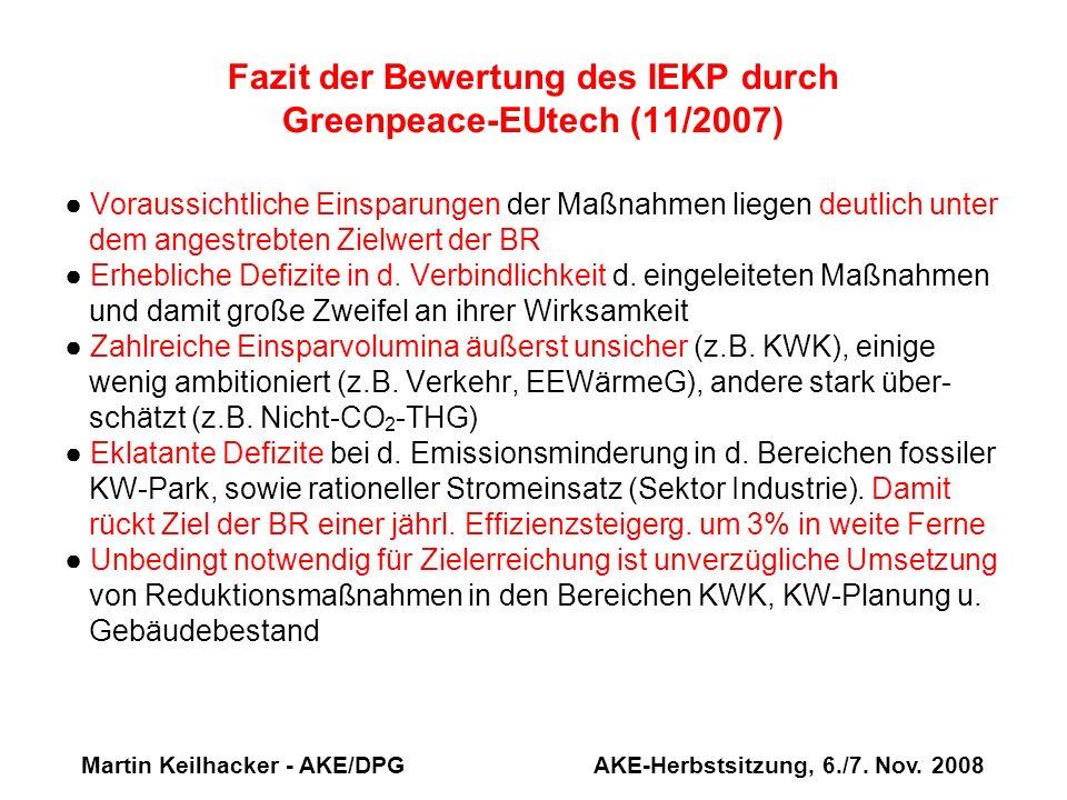 Martin Keilhacker - AKE/DPG AKE-Herbstsitzung, 6./7. Nov. 2008 Fazit der Bewertung des IEKP durch Greenpeace-EUtech (11/2007) Voraussichtliche Einspar