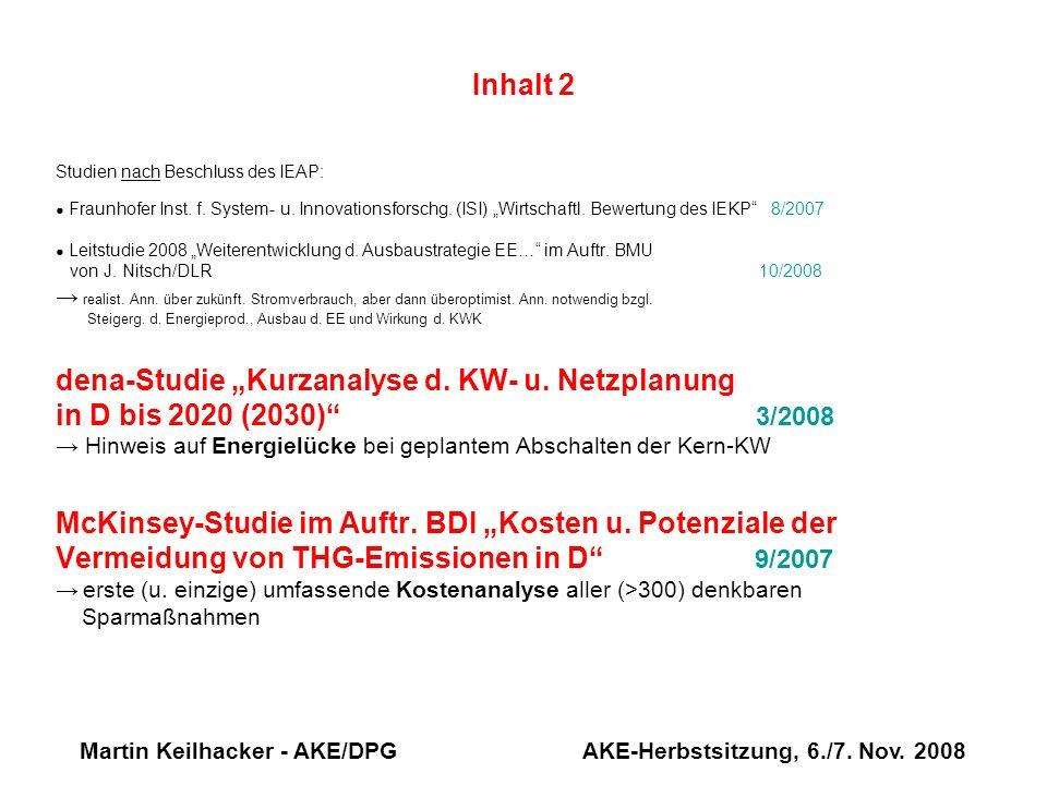 Martin Keilhacker - AKE/DPG AKE-Herbstsitzung, 6./7. Nov. 2008 Inhalt 2 Studien nach Beschluss des IEAP: Fraunhofer Inst. f. System- u. Innovationsfor