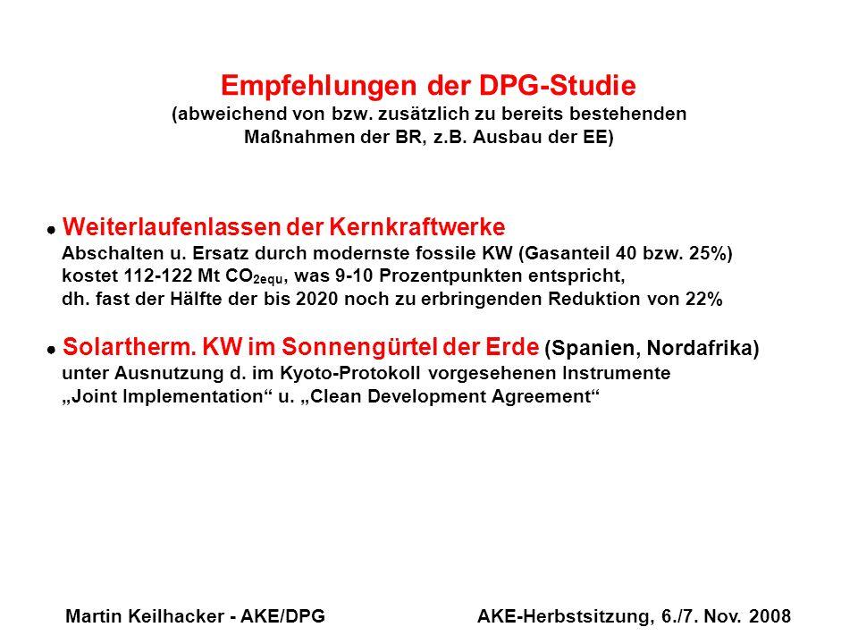 Martin Keilhacker - AKE/DPG AKE-Herbstsitzung, 6./7. Nov. 2008 Weiterlaufenlassen der Kernkraftwerke Abschalten u. Ersatz durch modernste fossile KW (