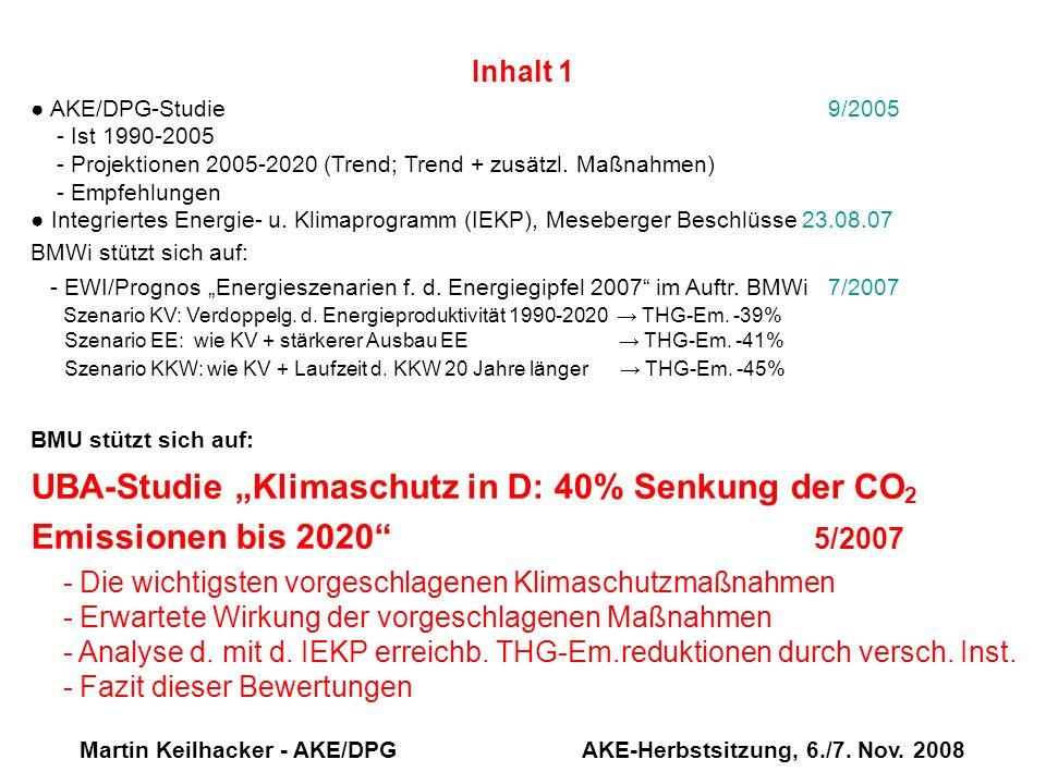 Martin Keilhacker - AKE/DPG AKE-Herbstsitzung, 6./7. Nov. 2008 Inhalt 1 AKE/DPG-Studie 9/2005 - Ist 1990-2005 - Projektionen 2005-2020 (Trend; Trend +