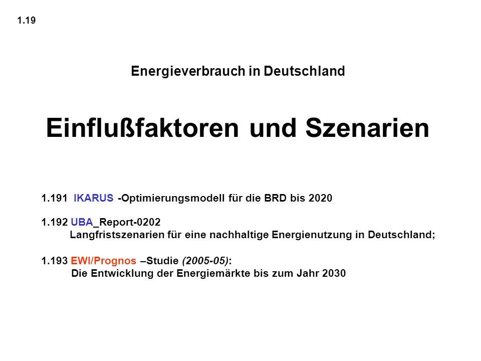 Energieverbrauch in Deutschland Einflußfaktoren und Szenarien 1.19 1.191 IKARUS -Optimierungsmodell für die BRD bis 2020 1.192 UBA_Report-0202 Langfri