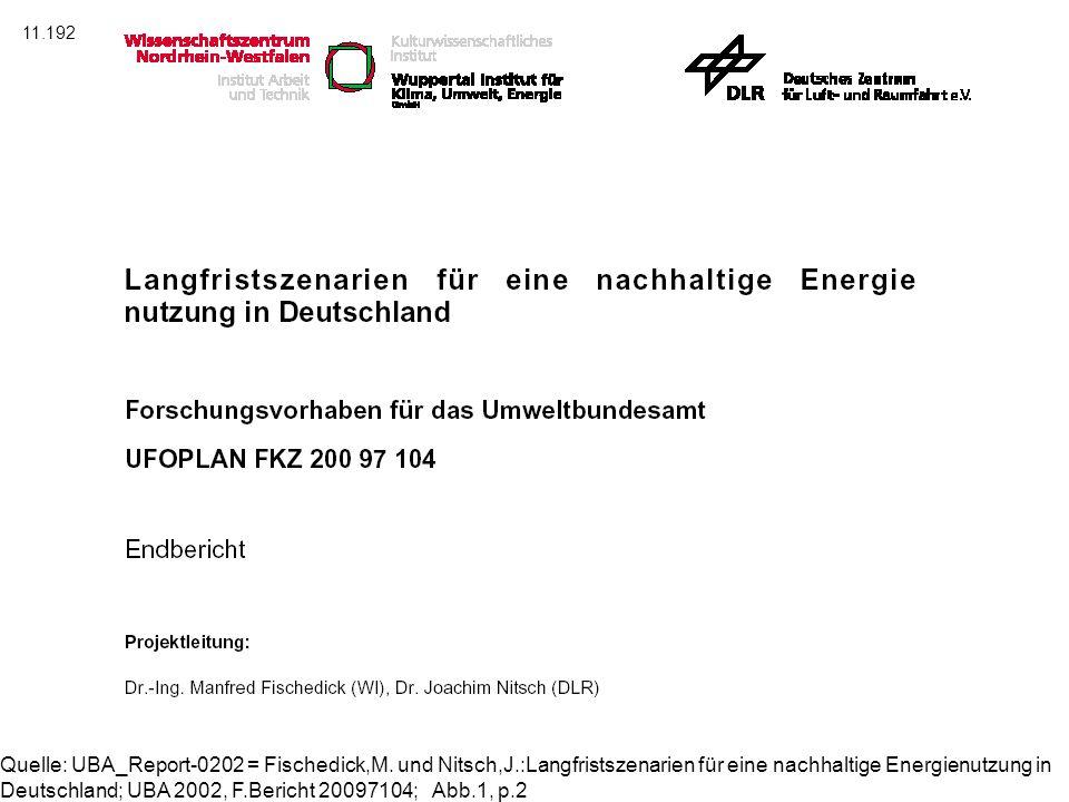 Quelle: UBA_Report-0202 = Fischedick,M. und Nitsch,J.:Langfristszenarien für eine nachhaltige Energienutzung in Deutschland; UBA 2002, F.Bericht 20097