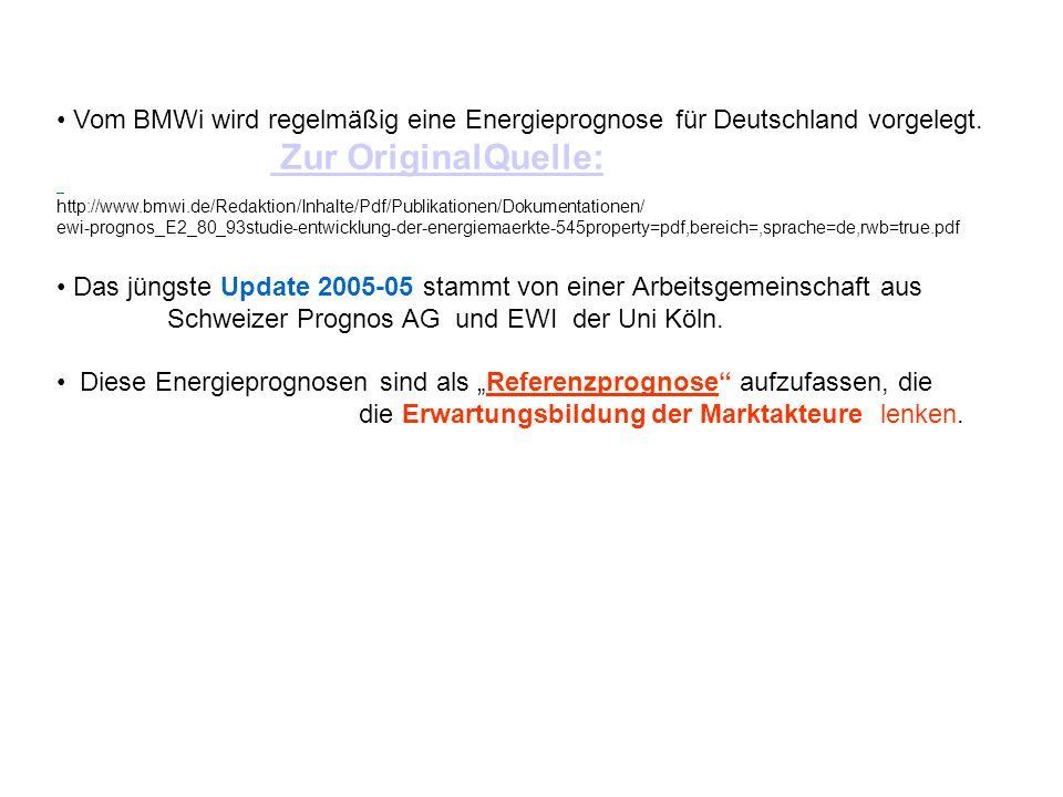 Vom BMWi wird regelmäßig eine Energieprognose für Deutschland vorgelegt. Zur OriginalQuelle: Zur OriginalQuelle: http://www.bmwi.de/Redaktion/Inhalte/