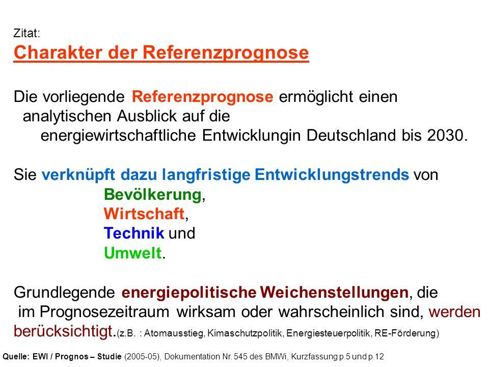 Zitat: Charakter der Referenzprognose Die vorliegende Referenzprognose ermöglicht einen analytischen Ausblick auf die energiewirtschaftliche Entwicklu