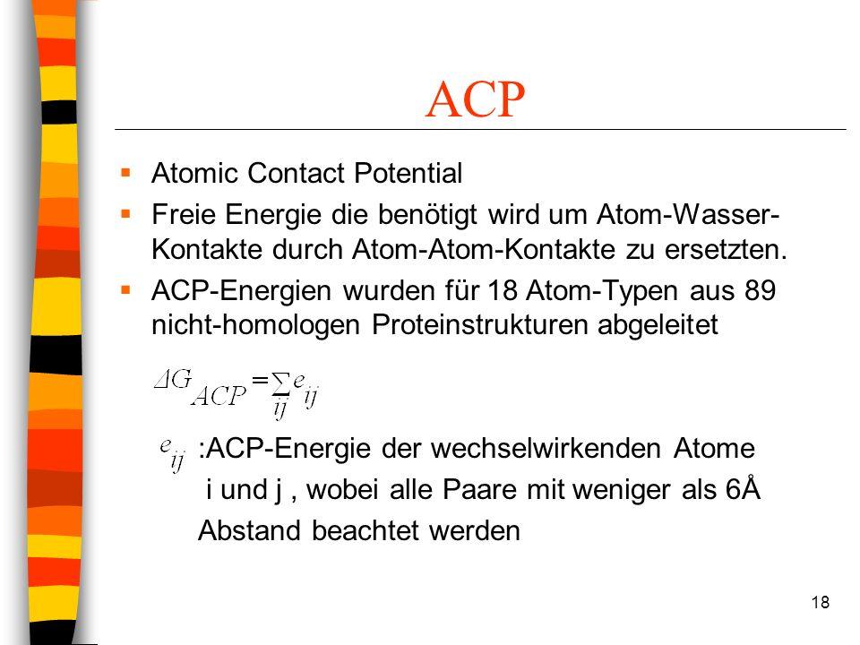18 ACP Atomic Contact Potential Freie Energie die benötigt wird um Atom-Wasser- Kontakte durch Atom-Atom-Kontakte zu ersetzten.