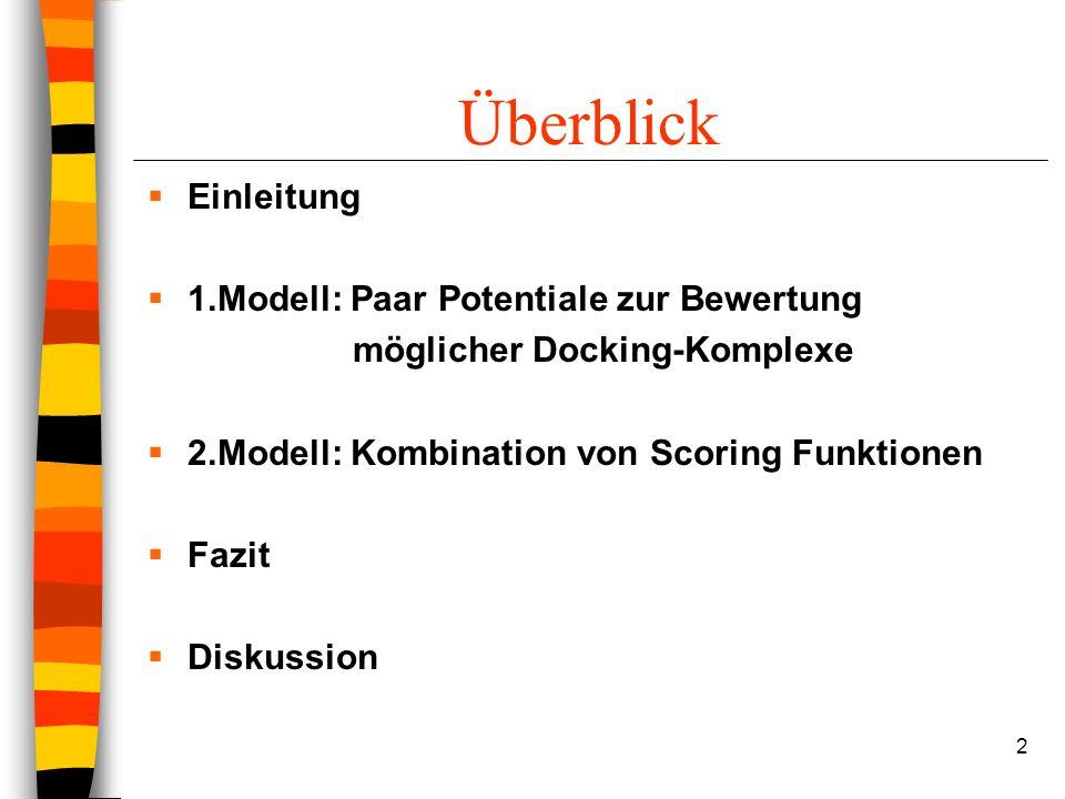 2 Überblick Einleitung 1.Modell: Paar Potentiale zur Bewertung möglicher Docking-Komplexe 2.Modell: Kombination von Scoring Funktionen Fazit Diskussion