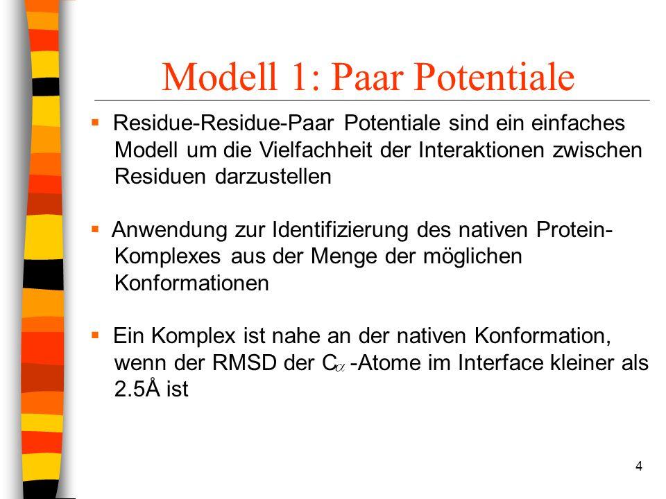 4 Modell 1: Paar Potentiale Residue-Residue-Paar Potentiale sind ein einfaches Modell um die Vielfachheit der Interaktionen zwischen Residuen darzustellen Anwendung zur Identifizierung des nativen Protein- Komplexes aus der Menge der möglichen Konformationen Ein Komplex ist nahe an der nativen Konformation, wenn der RMSD der C -Atome im Interface kleiner als 2.5Å ist