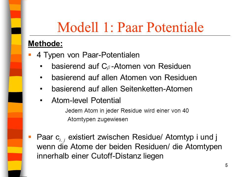 5 Modell 1: Paar Potentiale Methode: 4 Typen von Paar-Potentialen basierend auf C -Atomen von Residuen basierend auf allen Atomen von Residuen basierend auf allen Seitenketten-Atomen Atom-level Potential Jedem Atom in jeder Residue wird einer von 40 Atomtypen zugewiesen Paar c existiert zwischen Residue/ Atomtyp i und j wenn die Atome der beiden Residuen/ die Atomtypen innerhalb einer Cutoff-Distanz liegen