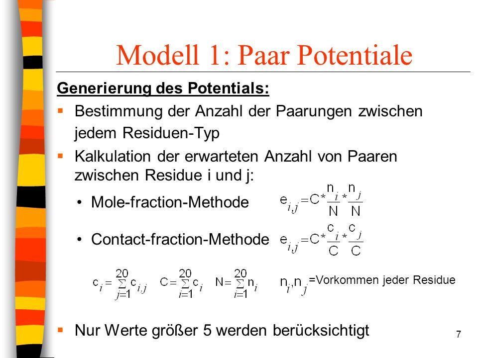 7 Modell 1: Paar Potentiale Generierung des Potentials: Bestimmung der Anzahl der Paarungen zwischen jedem Residuen-Typ Kalkulation der erwarteten Anzahl von Paaren zwischen Residue i und j: Nur Werte größer 5 werden berücksichtigt Mole-fraction-Methode Contact-fraction-Methode =Vorkommen jeder Residue