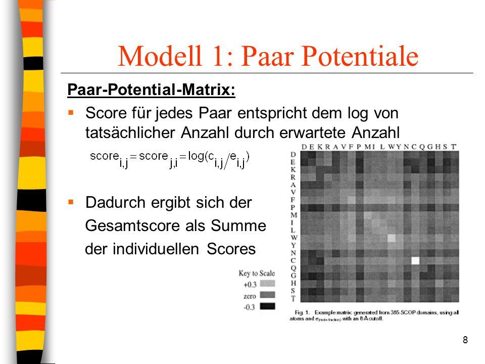 8 Modell 1: Paar Potentiale Paar-Potential-Matrix: Score für jedes Paar entspricht dem log von tatsächlicher Anzahl durch erwartete Anzahl Dadurch ergibt sich der Gesamtscore als Summe der individuellen Scores