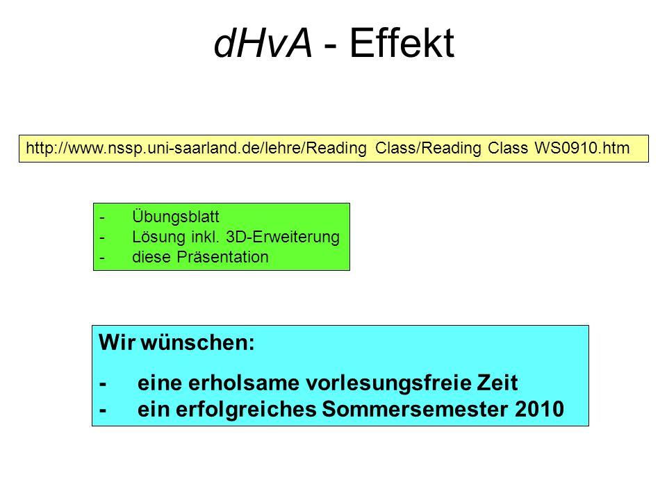 dHvA - Effekt http://www.nssp.uni-saarland.de/lehre/Reading Class/Reading Class WS0910.htm -Übungsblatt -Lösung inkl. 3D-Erweiterung -diese Präsentati