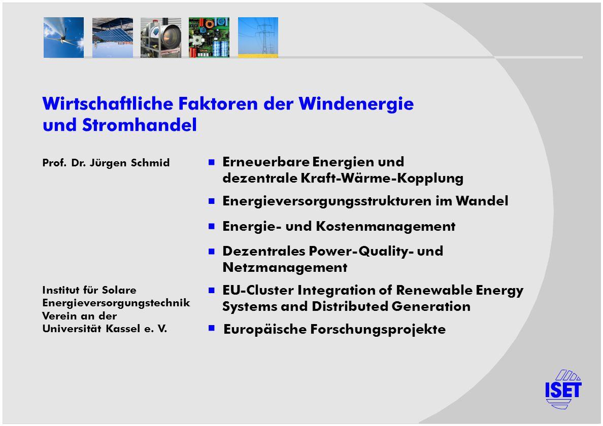 Prof. Dr. Jürgen Schmid Institut für Solare Energieversorgungstechnik Verein an der Universität Kassel e. V. Erneuerbare Energien und dezentrale Kraft