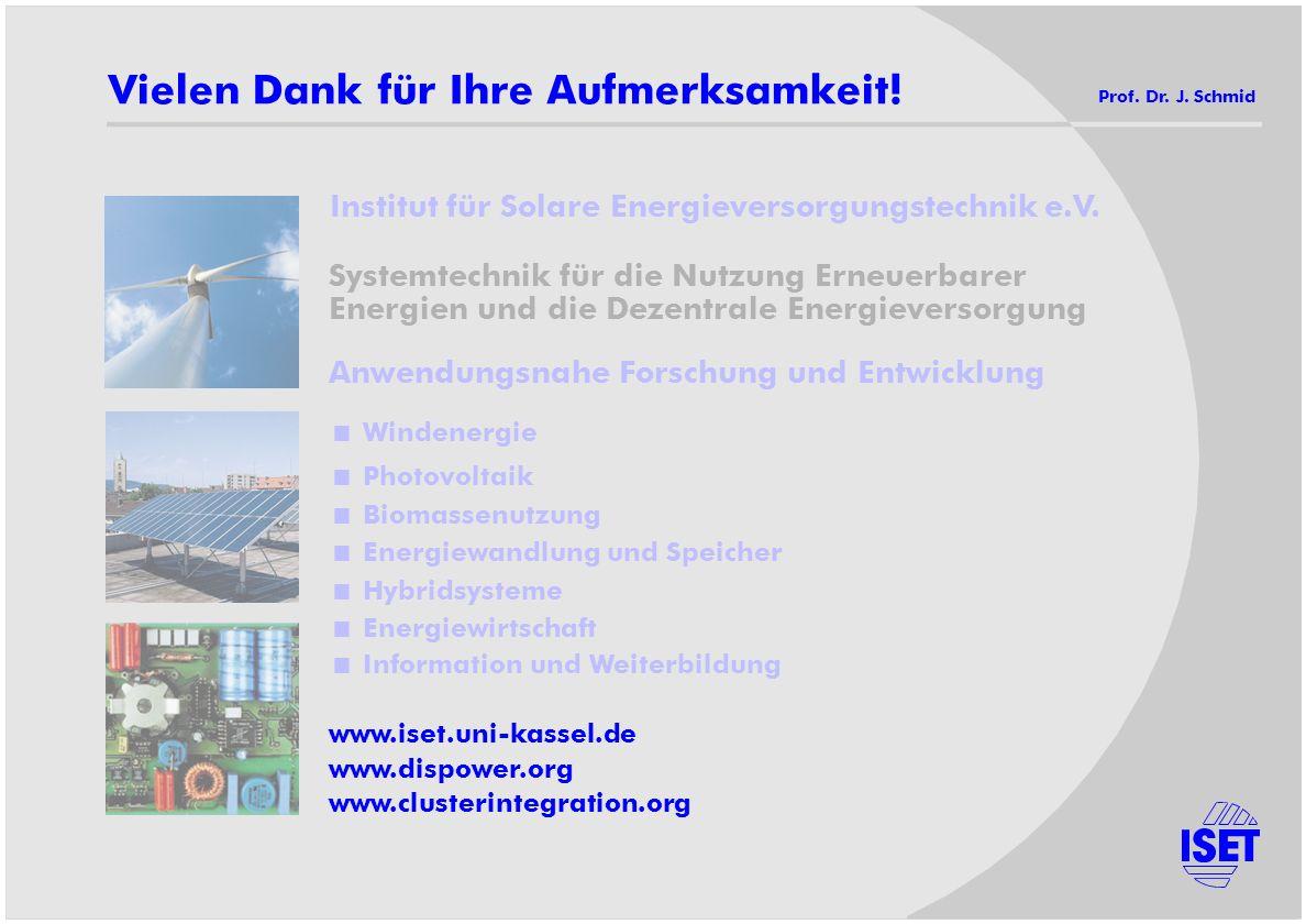 Vielen Dank für Ihre Aufmerksamkeit! Prof. Dr. J. Schmid Anwendungsnahe Forschung und Entwicklung Windenergie Photovoltaik Biomassenutzung Energiewand