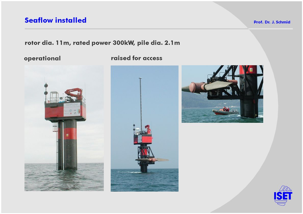 Seaflow installed rotor dia. 11m, rated power 300kW, pile dia. 2.1m operational raised for access Prof. Dr. J. Schmid