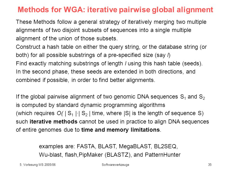 5. Vorlesung WS 2005/06Softwarewerkzeuge35 Methods for WGA: iterative pairwise global alignment These Methods follow a general strategy of iteratively
