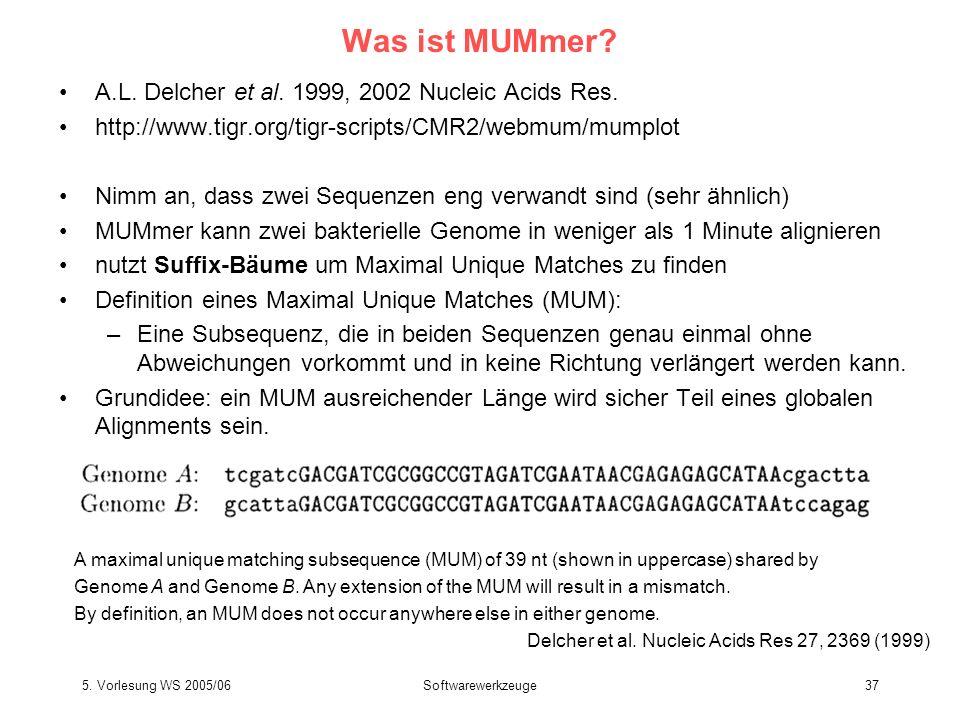 5. Vorlesung WS 2005/06Softwarewerkzeuge37 Was ist MUMmer? A.L. Delcher et al. 1999, 2002 Nucleic Acids Res. http://www.tigr.org/tigr-scripts/CMR2/web
