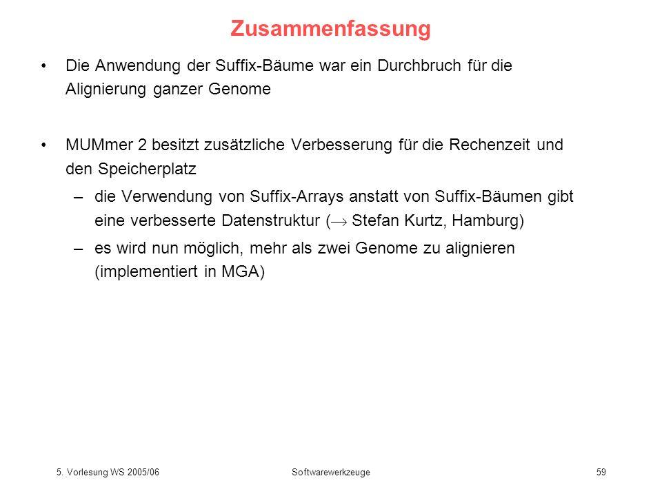 5. Vorlesung WS 2005/06Softwarewerkzeuge59 Zusammenfassung Die Anwendung der Suffix-Bäume war ein Durchbruch für die Alignierung ganzer Genome MUMmer