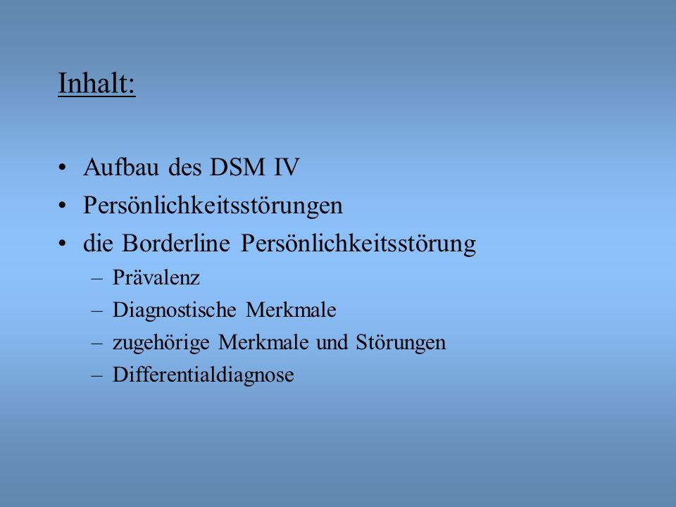 Inhalt: Aufbau des DSM IV Persönlichkeitsstörungen die Borderline Persönlichkeitsstörung –Prävalenz –Diagnostische Merkmale –zugehörige Merkmale und S