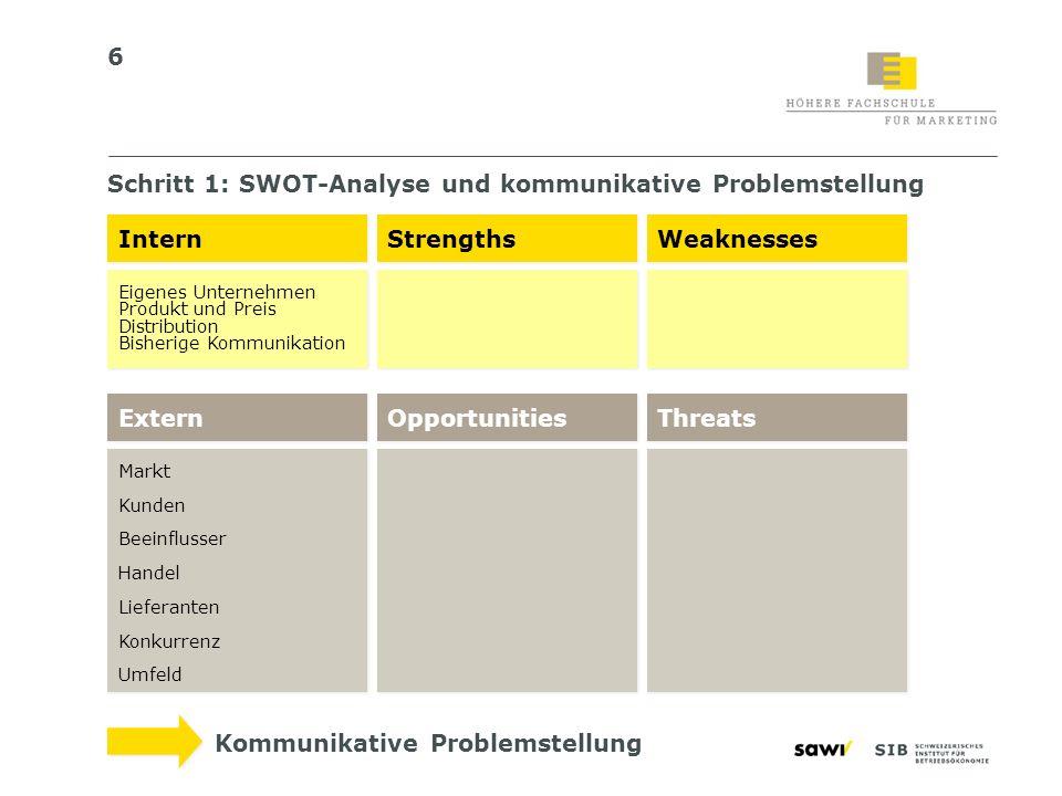 7 Schritt 1: Interne Faktoren > Marketingmix UNTERNEHMENSSTRATEGIE MARKETINGSTRATEGIE Marketing-Mix Personal- strategie Personal- strategie F&E- Strategie F&E- Strategie Marketing- strategie Marketing- strategie Produktions- strategie Produktions- strategie etc.
