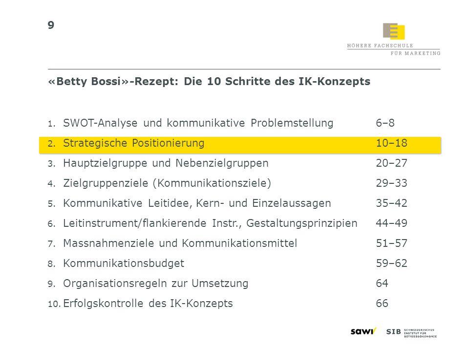 50 «Betty Bossi»-Rezept: Die 10 Schritte des IK-Konzepts 1.