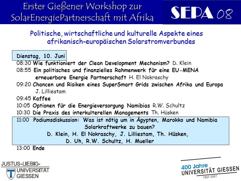 19 Dienstag, 10.Juni 08:30 Wie funktioniert der Clean Development Mechanism.