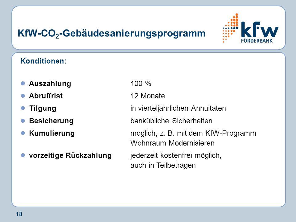 18 KfW-CO 2 -Gebäudesanierungsprogramm Konditionen: Auszahlung100 % Abruffrist12 Monate Tilgungin vierteljährlichen Annuitäten Besicherungbankübliche