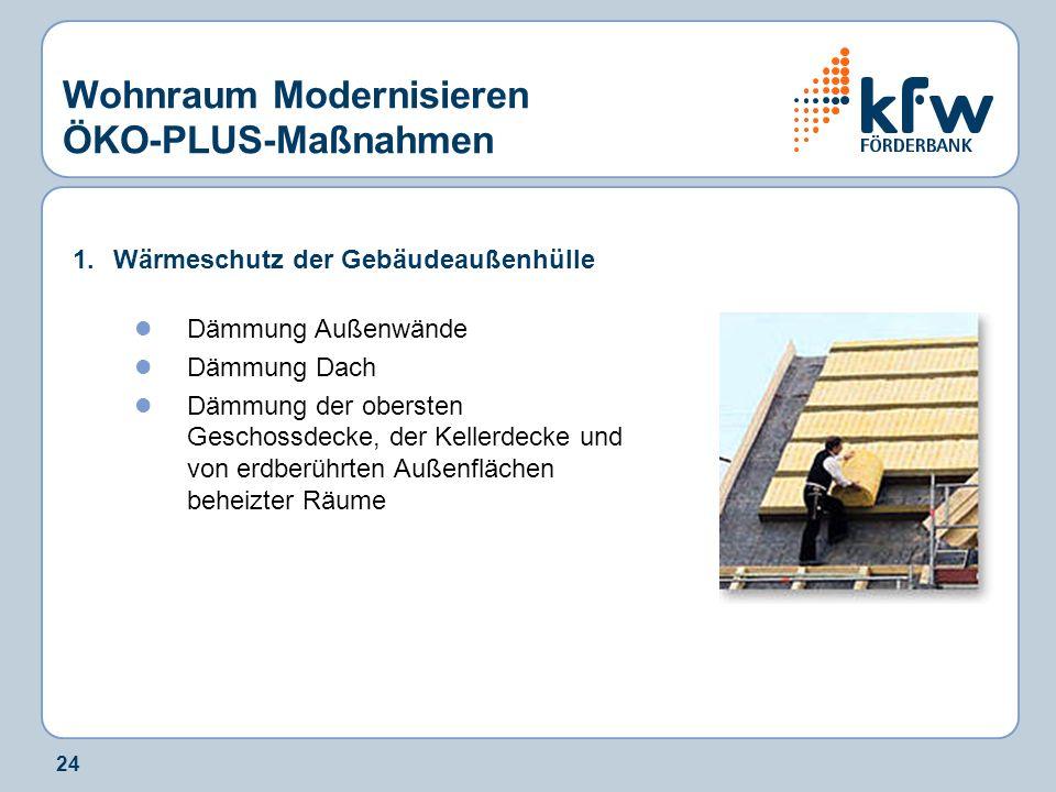 24 Wohnraum Modernisieren ÖKO-PLUS-Maßnahmen 1.Wärmeschutz der Gebäudeaußenhülle Dämmung Außenwände Dämmung Dach Dämmung der obersten Geschossdecke, d